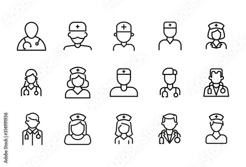 Fotomural Simple set of doctor modern thin line icons.