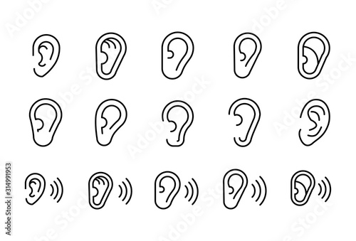 Fotografie, Tablou  Simple set of ear modern thin line icons.