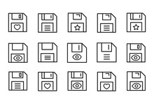 Simple Set Of Floppy Disk Modern Thin Line Icons.