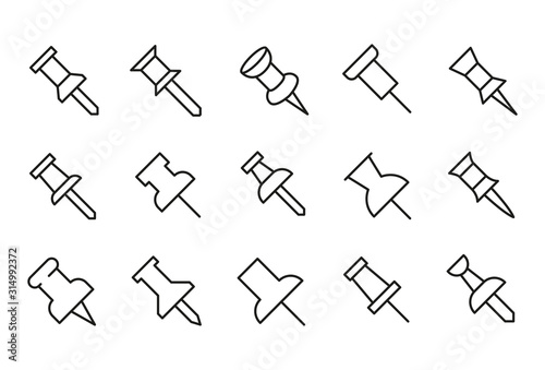 Fototapeta Simple set of push pin modern thin line icons.