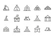 Vector line icons collection of tent.