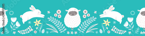 fototapeta na ścianę Easter pattern border. Cute bunny, lamb, egg and floral vector seamless repeat design.