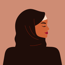 Portrait Of A Strong Muslim Woman In Profile Wearing A Black Hijab. Avatar Of Confident Young Arab Girl. Vector Illustration
