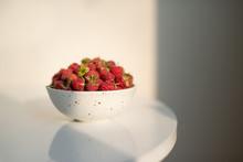 Fresh Raspberries In Ceramic B...