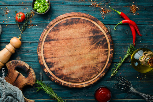 Obraz Blue wooden background of cooking. Top view. Free space for your text. - fototapety do salonu
