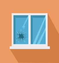 Broken Window Icon In Flat Style
