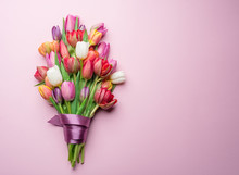Colorful Bouquet Of Tulips On ...