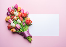 Colorful Bouquet Of Tulips And...