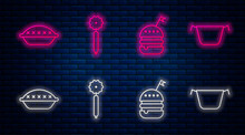 Set Line Pizza Knife , Burger , Homemade Pie And Cooking Pot . Glowing Neon Icon On Brick Wall. Vector