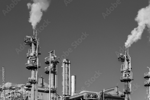 Fototapeta Closeup view of chimney of chemical factory obraz