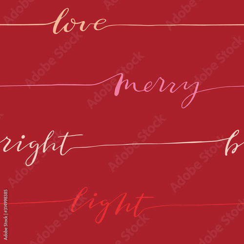 Fotografie, Obraz Abstract seamless calligraphy pattern with words love, merry, light, bright
