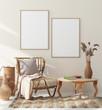 Leinwanddruck Bild - Mock up frame in home interior with rattan furniture, Scandi-boho style, 3d render