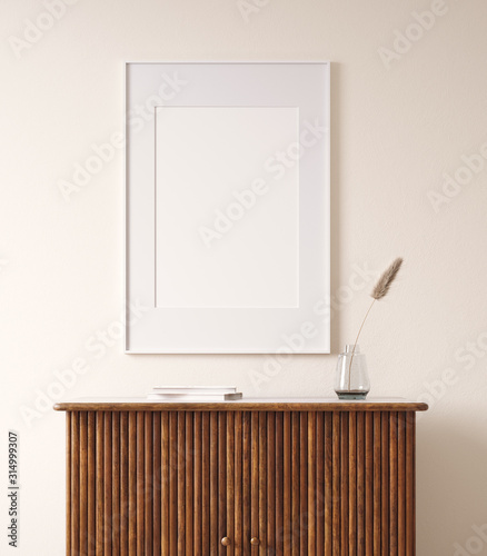 Mock up poster in rustic home interior background, 3D render