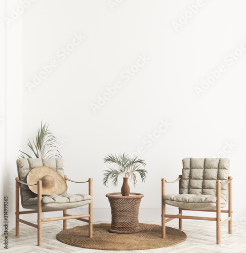 Fotografía  Home interior background with wicker furniture and decor, empty white wall mocku