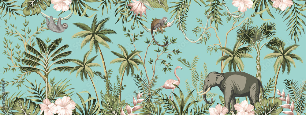 Fototapeta Tropical vintage botanical landscape, hibiscus flower, palm tree, plant, palm leaves, sloth, monkey, elephant, flamingo floral seamless border turquoise background. Jungle animal wallpaper.