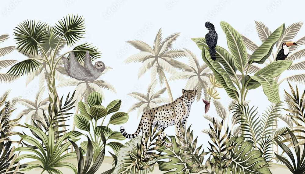 Fototapeta Tropical vintage botanical landscape, palm tree, banana tree, plant, wild animals leopard, sloth, toucan, parrot floral seamless border blue background. Exotic green jungle wallpaper.