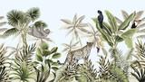 Tropikalny krajobraz botaniczny vintage, palma, drzewo bananowe, roślina, dzikie zwierzęta lampart, lenistwo, tukan, papuga kwiatowy bezszwowe granica niebieskim tle. Tapeta egzotyczna zielona dżungla. - 314999947