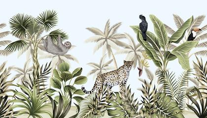 Fototapeta Zwierzęta Tropical vintage botanical landscape, palm tree, banana tree, plant, wild animals leopard, sloth, toucan, parrot floral seamless border blue background. Exotic green jungle wallpaper.