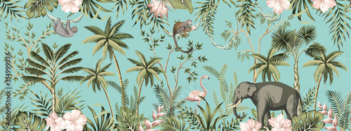 mata magnetyczna Tropical vintage botanical landscape, hibiscus flower, palm tree, plant, palm leaves, sloth, monkey, elephant, flamingo floral seamless border turquoise background. Jungle animal wallpaper.