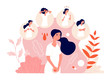 PMS. Female abdominal pain, menstrual syndrome and change behavior. Woman health, emotion and feelings. Vector premenstrual symptom concept. Illustration menstruation female pain, menstrual abdominal