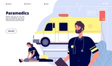 Ambulance Service. Paramedic Nurses, Emergency Doctor Transport. First Help Or Health Protection Banner. Vector Medical Work Landing Page. Illustration Ambulance Emergency Car, Medicine And Health