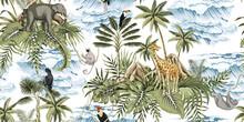 Tropical Vintage Botanical Island, Palm Tree, Mountain, Palm Leaves, Elephant, Giraffe, Sloth, Lemur, Sea Wave Summer Floral Seamless Pattern White Background.Exotic Jungle Wallpaper.