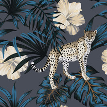 Tropical Vintage Hawaiian Dark Blue Palm Leaves, White Hibiscus Flower, Wild Animal Leopard Floral Seamless Pattern Grey Background. Exotic Jungle Wallpaper.