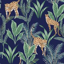 Tropical Vintage Leopard Animal, Green Plant Floral Seamless Pattern Dark Background. Exotic Jungle Wallpaper.