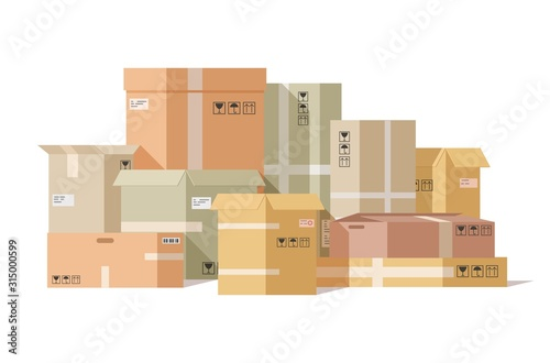 Cardboard boxes stacked Fototapet
