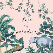 Tropical Summer Paradise Slogan Palm Leaves, Banana Tree, Liana, Elephant, Peacock Vintage Floral Illustration. Exotic Frame Print.