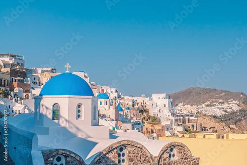 Fototapeta White architecture of Oia village on Santorini island. obraz