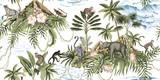 Tropikalna wyspa botaniczna vintage, palma, góra, liście palmowe, kwiat hibiskusa, słoń, małpa, lenistwo, lampart, lemur, lato kwiatowy wzór bezszwowe białe tło. Egzotyczne tapety dżungli. - 315002537