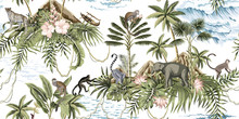 Tropical Vintage Botanical Island, Palm Tree, Mountain, Palm Leaves, Hibiscus Flower, Elephant, Monkey,sloth, Leopard, Lemur, Summer Floral Seamless Pattern White Background.Exotic Jungle Wallpaper.