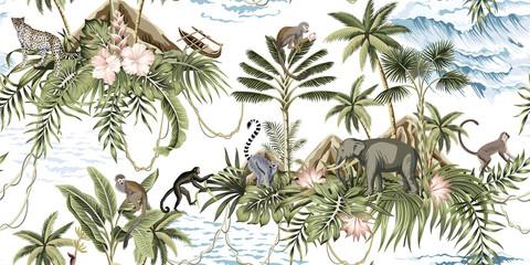 Fototapeta Orientalny Tropical vintage botanical island, palm tree, mountain, palm leaves, hibiscus flower, elephant, monkey,sloth, leopard, lemur, summer floral seamless pattern white background.Exotic jungle wallpaper.
