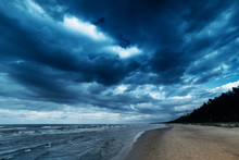 Windy Day By Baltic Sea.