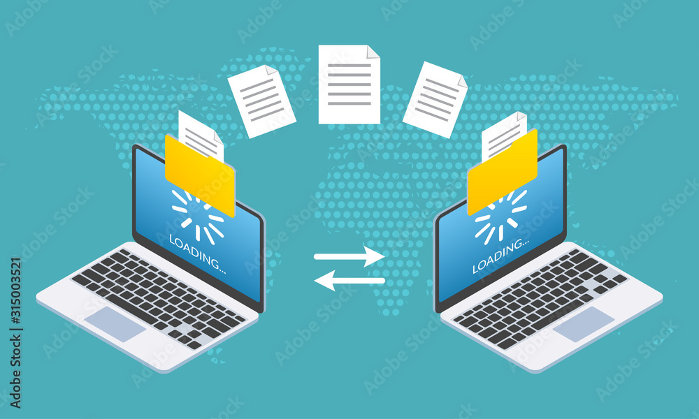 Fototapeta File transfer concept. Two Laptop computers with folders send and upload documents. File copy, data or information exchange design. Vector illustration.