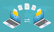 File Transfer Concept. Two Lap...