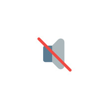 Mute Sound Flat Vector Icon. I...