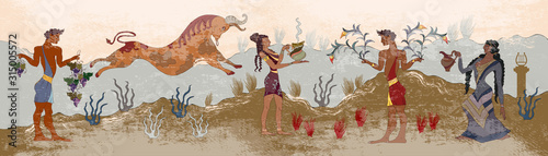 Ancient Greece frescos. Jumping bulls and people. Knossos murals mythology. H...