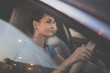 canvas print picture - Pretty, young woman  driving a car -Invitation to travel. Car rental or vacation.