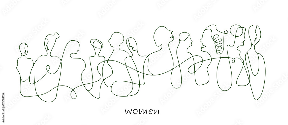 Fototapeta women concept in modern creative style, women are different concept on the white background,