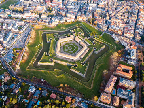 Aerial view of Citadel of Jaca, Spain Fototapet