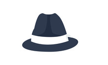 Blue Fedora Hat Icon Logo Desi...