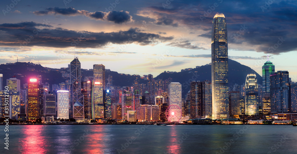 Fototapeta Panorama of Victoria Harbor night view at Hong Kong, China