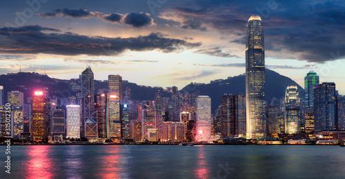 Fototapeta Panorama of Victoria Harbor night view at Hong Kong, China obraz