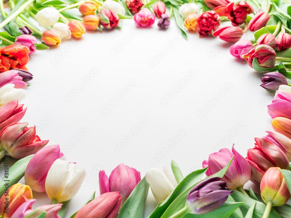 Obraz Colorful bouquet of tulips on white background. fototapeta, plakat