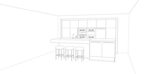 modern kitchen design sketch, 3d render background