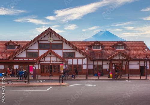 Fuji Mountain behind The Kawaguchiko train station,Japan