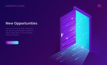 New Opportunities Isometric Landing Page. Binary Digital Code Coming Through Open Door On Neon Glowing Futuristic Background. New Technologies Coming To Human Life, High-tech 3d Vector Illustration