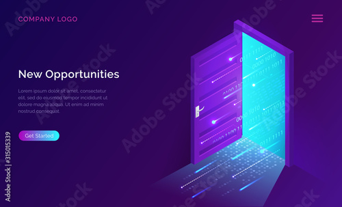 Fototapeta New opportunities isometric landing page. Binary digital code coming through open door on neon glowing futuristic background. New technologies coming to human life, high-tech 3d vector illustration obraz